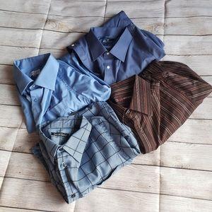 Four Mens Dress Shirt Button Down Business Work XL
